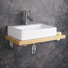High Quality Wall Mounted Wooden Shelf with Ceramic Wash Basin Sink. Included is a stainless steel wall bracket so the basin can be mounted for added effect. Bathroom Sink Storage, Corner Sink Bathroom, Sink Shelf, Bathroom Basin, Cloakroom Basin, Wooden Bathroom, Bathroom Wall Decor, Bathroom Ideas, Bathroom Furniture