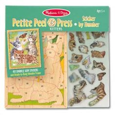 The Melissa & Doug Petite Peel & Press Sticker by Number Safari contains over 40 sparkle gem stickers and a ready-to-hang wooden frame.