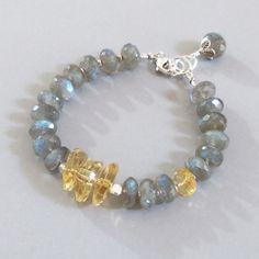Labradorite Citrine Sterling Silver Bracelet DJStrang Schiller Color Flashing Blue Green Yellow Red Boho Cottage Chic Gemstone