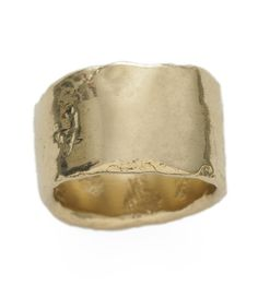 Sarah Jannerbo lost wax cast wide gold band ring - love