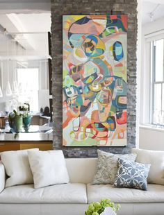 Modern Original Colorful Painting 48 x 24 Acrylic Blue Green Yellow Orange Coral  Large painting Loft Horizontal vertical oversize on Etsy, $750.00