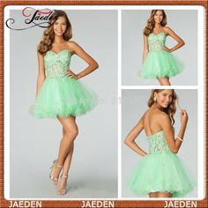 New Arrival Short Mint Sweetheart Ball Gown Sexy Mini Girl Prom Dress 2014 Fashion Girl Party Gown Free Shipping  $79.00