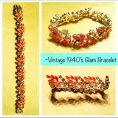 *VINTAGE* 1940-50's Glam Bracelet This is from my grandmothers collection that I have been holding on to for 20 years. Price Firm as this is authentic 1940-50's costume jewelry and will keep for my own daughter if it doesn't sell to a good home who will care for it ;) Lisner  Jewelry Bracelets