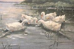 Ölbild mit Enten
