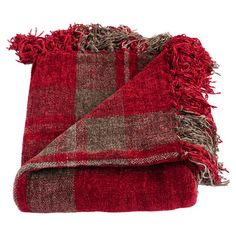 Featuring a hand-knotted fringe and plaid motif, this chenille throw is a cozy addition to your bed or sofa.  Product: Throw