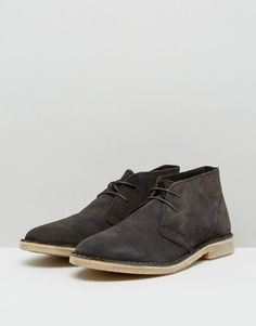 ASOS Desert Boots in Suede - Wide Fit Available - Gray
