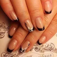 Accurate nails, Black french manicure, Elegant nails, Fashion nails French manicure French manicure ideas french manicure news Ring finger nails Short Nail Manicure, French Manicure Nails, French Manicure Designs, Manicure Colors, Manicure Y Pedicure, French Tip Nails, Best Nail Art Designs, Nails Design, Manicure Ideas