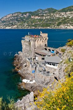The Norman tower castle restaurant on the Amalfi Coast near Maiori, Italy.
