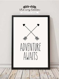 Adventure Awaits! Beautiful Printable Inspirational Wall Art for your Home. After purchasing you will receive an INSTANT DOWNLOAD of your