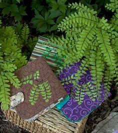 Slim Fabric Wallet Embroidered with Maidenhair by seablossomdesign,