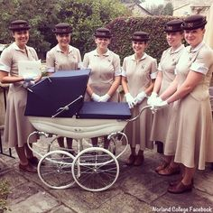 Here you see a group of Norland Nannies in uniform, via the College's Facebook page.