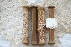 Vintage French, wood bobbins, set of 4, with 3 French trims, wood spools, industrial spools,  antique lace, vintage lace, metallic braid