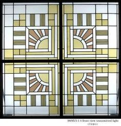 98/95/3 Window panels (4), sun burst design, lead/glass, designed for the 'Ladies Boudoir' of the Capitol Theatre, Melbourne, by Marion Mahony Griffin/ Walter Burley Griffin, Australia, 1921-24 - Powerhouse Museum Collection