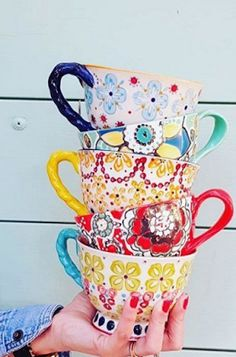Colorful mugs to display in the kitchen ~