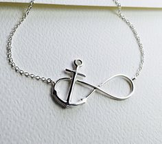 All Sterling Silver Infinity Anchor Necklace by Beautiful2u