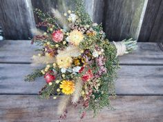 FARMHOUSE Yellow Bridesmaid Dried Flower Bouquet - For a Rustic Country Wedding on Etsy, $24.00