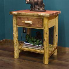 Red Cedar 1 Drawer Log Nightstand - Cabin Decor | Rustic Furniture
