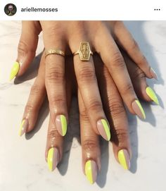 "If you're unfamiliar with nail trends and you hear the words ""coffin nails,"" what comes to mind? It's not nails with coffins drawn on them. Although, that would be a cute look for Halloween. It's long nails with a square tip, and the look has. Neon Nail Art, Neon Nails, Neon Green Nails, Neon Yellow, Orange Nails, Stylish Nails, Trendy Nails, Chic Nails, Funky Nails"