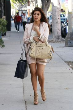 Kourtney Kardashian wearing Balenciaga Brogues City Bag Christian Louboutin Miss Fortune Fifteen Twenty Button Front Blouse in WHITE Nissa Jewelry Lali Earring  Shopping trip in Beverly Hills  March 232012