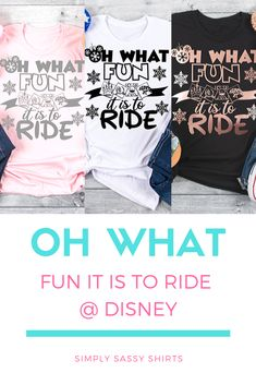 "Oh What Fun it is to Ride is the perfect tee for a Disney Holiday Vacation. This also makes a great gift for ""Disney Ride Loving"" family and friends. Mickey Christmas, Christmas Shirts, Family Christmas, Cozy Christmas, Sassy Shirts, T Shirts For Women, Vinyl Designs, Shirt Designs, Gifts For Boys"
