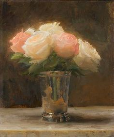 Roses in a Silver Cup - Jacob Collins - 2011