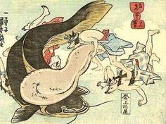 An ukiyo-e print by the great ukiyo-e artist Utagawa Kuniyoshi that shows a tanuki (raccoon dog-like creature) using his testicles to smack the earthquake-causing catfish on the head with his testicles. I love Japanese mythology. Japanese Mythology, Japanese Folklore, Japanese Artwork, Japanese Prints, Japanese Paper, Japanese Raccoon Dog, Kuniyoshi, Human Art, Medieval Art