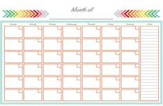 FREE Printable: Monthly Calendar - Half Page