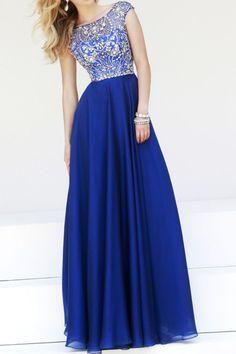 2015 Hot Selling Bateau A Line Prom Dress Beaded Bodice With Long Chiffon Skirt: