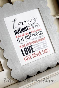 Love Subway Art Printable - FREE printable Valentine's Day sign - 1 Corinthians 13 - The Love Chapter - Scripture Word Art