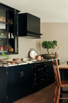 Dark navy kitchen cabinets