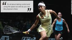 "Nicol David stays one move ahead .  ""It's all about taking control and using the space as well as you can, like physical chess."" Nicole David, defining the rigors for #Squash."