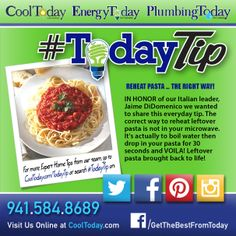 THE RIGHT WAY TO REHEAT PASTA! In honor of our Italian leader, Jaime DiDomenico we wanted to share this everyday #TodayTip. The correct way to reheat leftover pasta is not in your microwave. It's actually to boil water then drop in your pasta for 30 seconds and VOILA! Leftover pasta brought back to life  #thankyouziplock #cookingtips