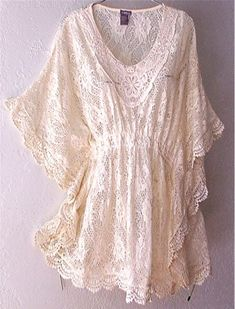 Soooo cute!    New Ivory Vintage Crochet Lace Peasant Blouse Kimono Boho Top 12 14 L Large | eBay