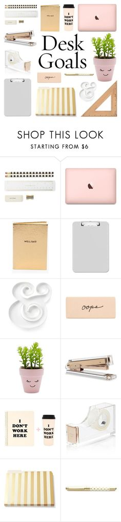 """Desk Goals: Pretty Workspaces"" by deepwinter ❤ liked on Polyvore featuring interior, interiors, interior design, home, home decor, interior decorating, Kate Spade, Chico's, Sparco and New Look"