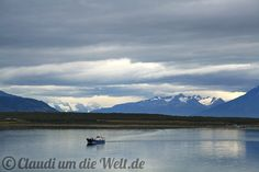 Boat within the emptiness of Patagonia, by Puerto Natales, Chile