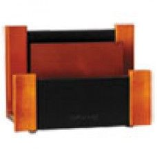 Desk Supplies>Desk Set / Conference Room Set>Holders> Files & Letter holders: Desktop Sorter, Wood/Faux Leather, 6 5/8 x 3 2/3 x 4 3/4, Black/Mahogany