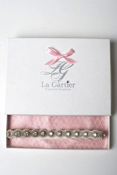 The Sophia wedding garter inside of the signature La Gartier box. Now available for purchase on the website at www.lagartier.com