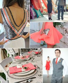 neon coral wedding inspiration with chic black gray silver