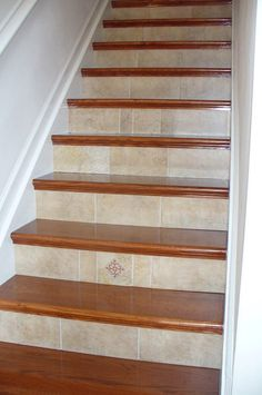 Decorative Tile for Stairs | Staircase Remodel Gallery NuStair Staircase Remodel by Gary ...