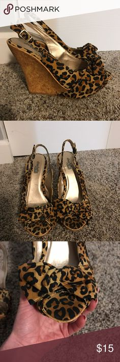 Leopard peep toe wedge Super cute leopard print peep toe wedge. Brand new never worn! Size 6 Charlotte Russe Shoes Wedges