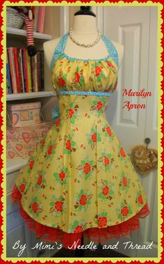 The Marilyn Apron a pin up girl apron by mimisneedle on Etsy, made using Lori Holt Sew Cherry fabrics Retro Apron, Aprons Vintage, Apron Designs, Cute Aprons, Kitchen Aprons, Sewing Aprons, Learn To Sew, Sewing Hacks, Sewing Crafts