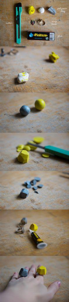 Anillos geométricos con arcilla de polímeros / Via kittenhood.ro