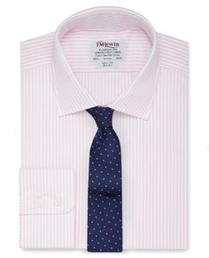 Slim Fit Light Pink Stripe Poplin Shirt,