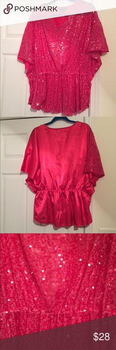 "NWOT Ashley Stewart Hot Pink Plus Sequined Top NWOT Ashley Stewart Hot Pink Plus Sequined Top...Gorgeous date night top! Think Valentine's Day...or anytime you want to feel special! Dress this one up or down for work or play...it would fit several sizes too!! 29"" L x 26"" chest x elastic waist that stretches to 26"" Ashley Stewart Tops Blouses"