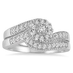 1/3 Carat Cluster Diamond Bridal Set in 10K White Gold