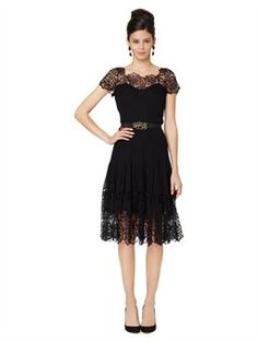 LACE ILLUSION TOP DRESS WITH SOFT PLEATED SKIRT. I love this dress.  Takes that little black dress to a whole new level.