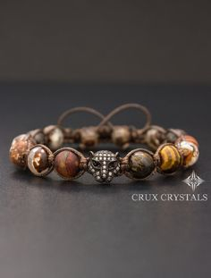Mens Brown Agate and Tigers Eye Shamballa Beaded by CruxCrystals