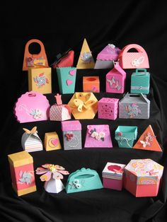a ton of gift boxes by Pam Jarrett using CTMH Dream Pop paper Cricut, Art Philosophy, Artiste, Artbooking Cricut Cuttlebug, Cricut Cards, Cricut Cartridges, Gift Wraping, Heart Projects, Dream Pop, Artist Project, Scrapbook Paper Crafts, Scrapbooking
