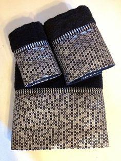 Pin it! Metallic Black and Silver Chevron Bath Towel Set by LadyDiBlankets
