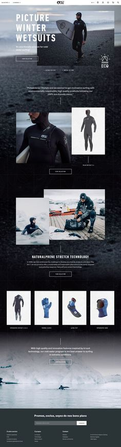 Picture poster winter wetsuits en 1440 Web Layout, Layout Design, Website Layout, Lookbook Layout, Email Design Inspiration, Creative Web Design, Web Themes, Winter Pictures, Travel Design